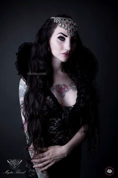 #Grey - #black #lace #gothic #victorian #vampire #costume #neck #collar by #mysticthread - www.mysticthread.com , Singer/Model/Edit: #Eleine  ,  Photo: #RikardEkberg