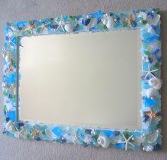 Beach Decor Custom Sea Glass & Shell Mirror - Seashell Mirror w Beach Glass, Starfish - Any Color