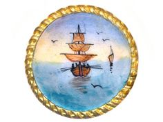 Button ~ Not Quite Large 19th C. Hand Painted Enamel Square Rigger at Sea by rclarner on Etsy https://www.etsy.com/listing/210686565/button-not-quite-large-19th-c-hand