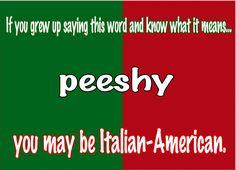 OMG!   HA HA HA HA!!!!   If you grew up saying the word 'peeshy' you may be #Italian american