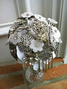 Vintage Brooch Bouquet Silver Rhinestone White floral- Assembled and awaiting your Fabric Choice. Bridal Brooch Bouquet, Brooch Bouquets, Bling Wedding, Wedding Bouquets, Silver Rhinestone, Vintage Brooches, Burlap Wreath, Flower Arrangements, Christmas Wreaths