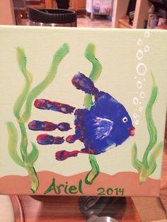 Hand print fish canvas.