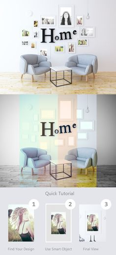 This is an eye-catching modern frame poster mock-up that will present your design in a realistic manner, as displayed in a nice room. The PSD file is fully layered and includes smart objects for an easy drag and drop action.