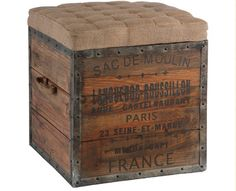 repurposed wood crate into an ottoman....functional and fabulous! =)