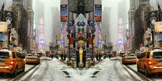 Times square in snow. By JRK