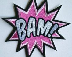 Large Embroidered BAM Iron On Patch, Applique,  Super Power, Girl Power, Hero, for the Girls Only. Pink Power, Cancer Awareness Patch