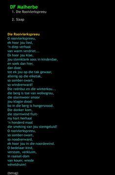 O, rooivlerkspreeu, ek hoor jou lied Afrikaans, Poems, My Life, Lyrics, Thoughts, Writing, Creative, Quotes, Quotations