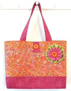 Tangerine Dream - Big Quilted BEACH BAG Orange Pink & Green - Made with Kaffe Fassett Paperweight Print and Hot Pink Leopard by Calico Caps® Orange Bag, Orange Pink, Pink And Green, Visors, Florida Usa, City Beach, Pink Leopard, Panama City Panama, Dream Big