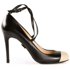 Ritch Erani NYFC contrasting captoe pumps ($250) ❤ liked on Polyvore featuring shoes, pumps, black, black strap shoes, mid-heel pumps, black pumps, black round toe pumps and black strappy pumps