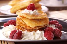 Raspberry and Whipped Cream Buckwheat Pancakes: Lower your risk of heart disease and indulge in this classic combination.