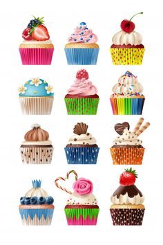 Buy Vector Set of Icons Sweets by vectorpocket on GraphicRiver. Vector set of icons isolated decorative cakes Printable Stickers, Cute Stickers, Planner Stickers, Cartoon Cupcakes, Felt Cupcakes, Cupcake Drawing, Cupcake Art, Cupcakes Wallpaper, Cupcake Pictures