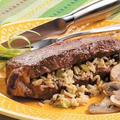 Wild Rice-Stuffed Steaks Beef Steak Recipes, Meat Recipes, Real Food Recipes, Dinner Recipes, Cooking Recipes, Dinner Ideas, Yummy Recipes, Wild Rice Recipes, Vegetable Medley