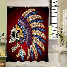 Skull Custom  Shower Curtains Fashion  Beautiful Bathroom Products High Quality Waterproof Shower Curtain YH-062 - ICON2 Luxury Designer Fixures  Skull #Custom # #Shower #Curtains #Fashion # #Beautiful #Bathroom #Products #High #Quality #Waterproof #Shower #Curtain #YH-062
