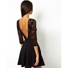 Lace stitching Wrap chest waist Long sleeved sexy deep V-neck round collar dress