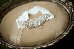 Scalloped Wedding Garter- Diamond Encrusted