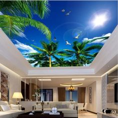 3D Custom Tropical Coconut Trees Sky Ceiling Wallpaper Mural