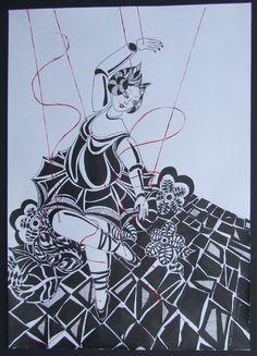 pen tekening met steun kleur