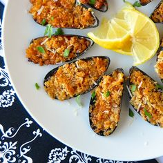 Parmesan Marinara Baked Mussels - make a terrific, easy first course for a celebration dinner, especially a romantic dinner for two on Valentine's Day.