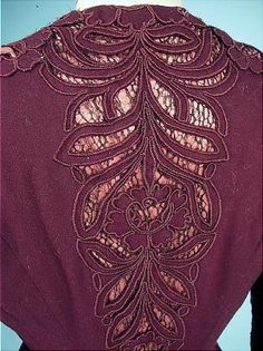 . 1908-1909 Dark Burgundy Wool and Coral Satin Cutwork Trained Afternoon Gown with photo of the Original Owner, Ione Fischer of Palo, Illinois. Detail