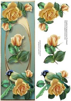 This lovely topper is large dl in size. It features gorgeous yellow roses and a beautiful green jay, on an unusual gold frame. It has decoupage.