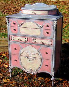 annie sloan chalk paint dresser ~ Lisa and Don Kunz Hand Painted Furniture