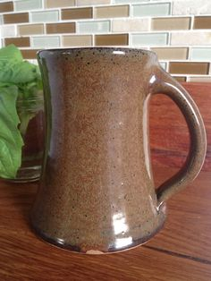 Beer Tankard in Iron Glaze by westforkpottery on Etsy