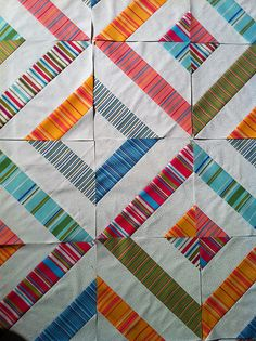 tutorial by Jenny, from the Missour....  try with Kaffe F. Stripes.