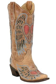 CorralLadies Distressed Tan w/Winged Heart Red  cowgirl boots