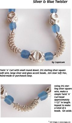 Pg 1 Silver Blue Twister Wire Beads Necklace Jewelry Making Project made with WigJig jewelry tools and jewelry supplies.