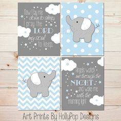 Blue Gray Baby Boy Nursery Art Elephant Nursery Wall Decor Now I Lay Me Down Childrens Bedtime Prayer Clouds Stars Nursery Wall Art #1313
