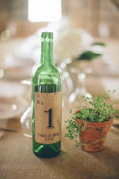 Wine bottle table numbers  Photography By / jillianmitchell.net