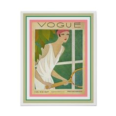 Art Deco Vogue Cover Poster Tennis 16 x 20 (210 ARS) ❤ liked on Polyvore featuring home, home decor, wall art, framed posters, art deco home decor, framing posters, tennis wall art and framed wall art