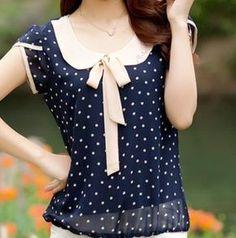 vestidos New 2015 women dress Summer Chiffon blusas Blouse bow dot short-sleeve fashion Lace Blouse Loose plus size casual dress