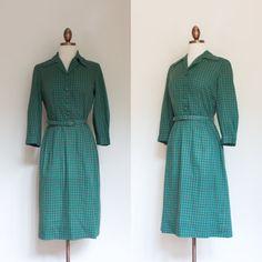 vintage 1960s green gingham shirtdress / 60s by inheritedattire
