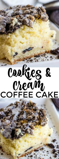 A fun brunch dish this Cookies and Cream Coffee Cake will have people of all ages running to the table to grab a creamy delicious slice!