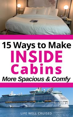 It's no secret - cruise ship cabins are small! Inside cabins in particular can be challenging. Here are some great ways that you can make your stateroom more spacious with some cruise accessories, as well as more cozy with these easy tips. Cruise Packing Tips, Cruise Travel, Cruise Vacation, Disney Cruise, Cruise Ship Reviews, Best Cruise Ships, Royal Caribbean Ships, Royal Caribbean Cruise, Cruise Excursions
