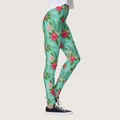 Cute Coral Tropical Hibiscus Flower On Turquoise Leggings - classic gifts gift ideas diy custom unique