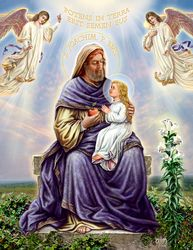 Saint Joachim: The Archangel's announcement and the Lord's promise were fulfilled. Joachim in his turn was faithful to the commands of the Lord. His daughter received the name of Mary, and when She was three years old, he and Saint Anne entrusted Her to the pious women who in the temple of Jerusalem brought up young girls consecrated to the Lord.