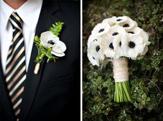 black and white wedding boutonniere and bouquet
