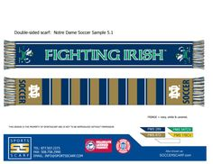 Notre Dame Soccer scarf for the Notre Dame Women's Soccer Team!