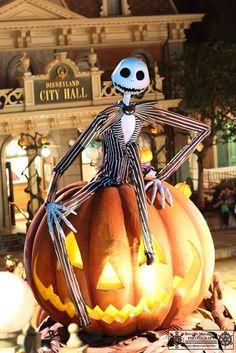 Jack Skellington during Halloween at Walt Disney World's Magic Kingdom. Disneyland Halloween, Halloween Town, Holidays Halloween, Scary Halloween, Halloween Crafts, Happy Halloween, Halloween Decorations, Halloween 2018, Disney Fun