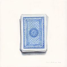 """Pack of cards. Egg tempera on gesso board, 20cm x 20cm (8"""" x 8""""). Sold - joelpenkman"""