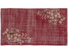 $285, 6,6x3,7 ft    200x114 cm   Vintage RED handmade faded-distressed overdyed rug Free shipping (3377)
