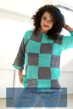Free Pattern & Video Tutorial The post Plaid Summer Sweater. Crochet Pattern ByKaterina 2019 appeared first on Quilt Decor. Crochet Quilt, Crochet Poncho, Free Crochet, Crochet Summer, Easy Knitting, Knitting For Beginners, Easy Crochet Patterns, Sewing Patterns, Tutorial Crochet