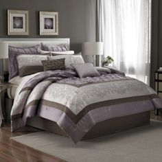 Manor Hill® Reina 8-Piece Comforter Set in Lilac - BedBathandBeyond.com  I like the pin-tucking.