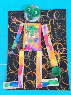 Robot Art to Teach Shapes to Kids! - The Painterly Path Recycled Robot Art to Teach Shapes to Kids! - The Painterly Path , Recycled Robot Art to Teach Shapes to Kids! - The Painterly Path , Teaching Shapes, Teaching Art, Food Art For Kids, Art Kids, Recycled Robot, Robot Theme, Recycled Art Projects, Recycled Crafts, Robot Art