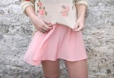 Beautiful pink skirt with floral sweater