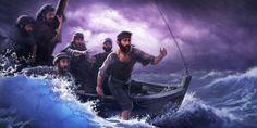 En medio de una tormenta, el apóstol Pedro salta de la barca y comienza a caminar sobre el agua