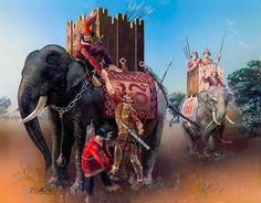 """Graeco-Bactrian war-elephant and three-man crew, late 3rd century BC"""