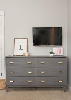 ikea tarva 6-drawer dresser gold pulls gray paint - guest room